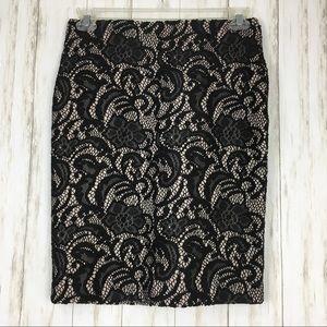 Ann Taylor Black Lace Overlay Pencil Skirt